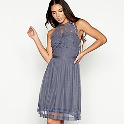 Vila - Blue lace halterneck 'Vizinnia' dress