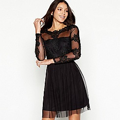 Vila - Black sheer guipure lace round neck long sleeve mini evening dress