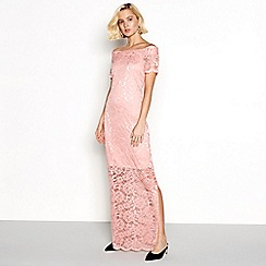 Vila - Pink lace 'Vizally' off shoulder maxi dress
