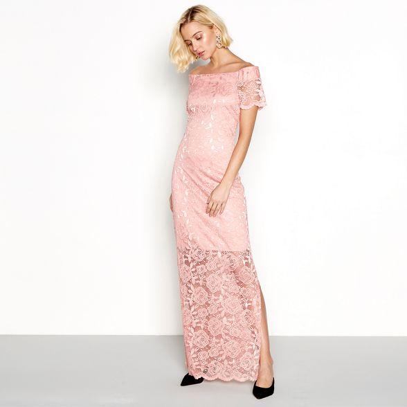 off 'Vizally' Vila shoulder lace dress maxi Pink qTB6U