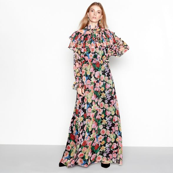 print maxi dress sleeve long YAS Multi floral coloured q0tAv