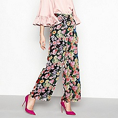 YAS - Multi-coloured floral print wide leg trousers