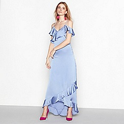 YAS - Blue 'Fielle' cold shoulder ruffle maxi dress