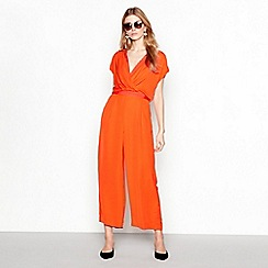 YAS - Orange short sleeve wrap front jumpsuit