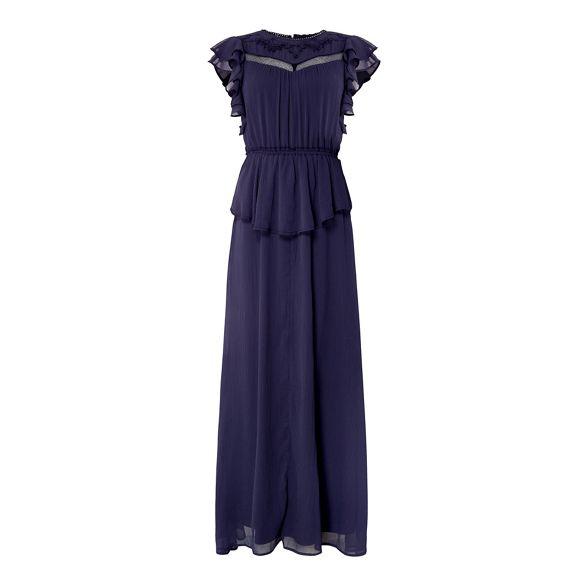 chiffon sleeveless maxi Navy ruffle dress YAS 4Zw8q6fn