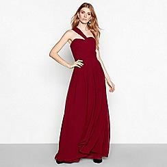 YAS - Wine chiffon 'Molly' pleated one shoulder maxi dress