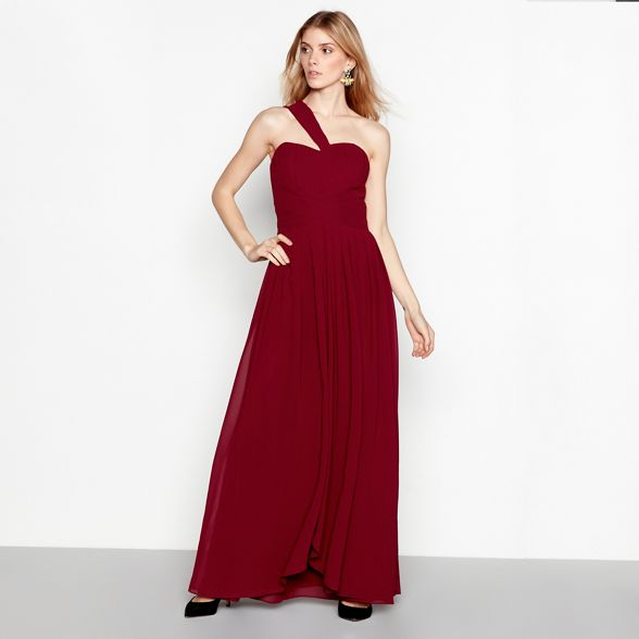 Wine shoulder dress 'Molly' one chiffon pleated maxi YAS dqpRp