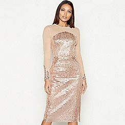 Star by Julien Macdonald - Natural sequin mesh round neck long sleeve midi pencil dress
