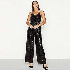 Star by Julien Macdonald - Black sequin mesh V-neck full length jumpsuit