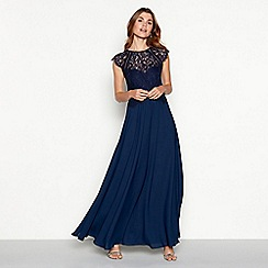 Debut - Dark blue chiffon lace 'Olivia' high neck full length dress