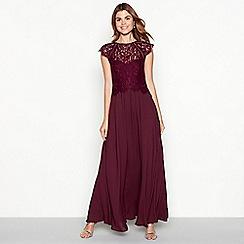 Debut - Dark purple chiffon lace 'Olivia' high neck full length dress