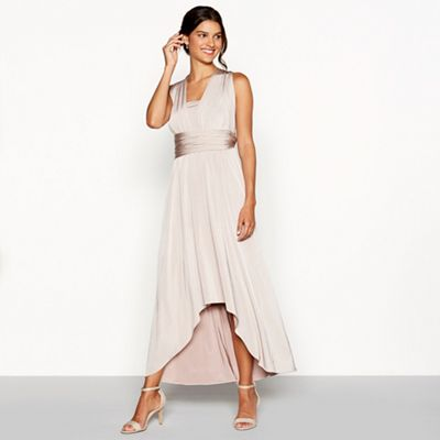 008020311787: Taupe Multiway High Low Dress