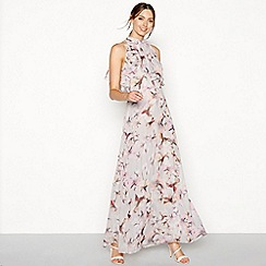 Debut - Grey floral print high neck sleeveless maxi dress