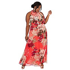 Debut - Bright orange floral print chiffon plus size maxi dress