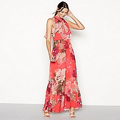 Debut - Bright orange floral print chiffon maxi dress