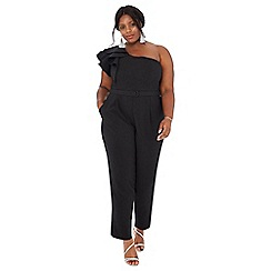Debut - Black frill sleeve 'Frankie' plus size jumpsuit