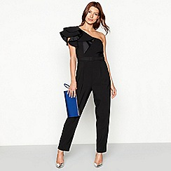 Debut - Black frill sleeve 'Frankie' jumpsuit