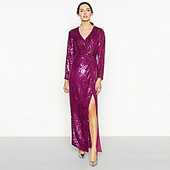 Debut - Bright pink twist front sequin long sleeve full length occasion dress