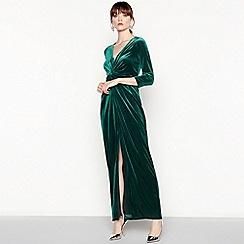 Debut - Green velvet knot maxi dress