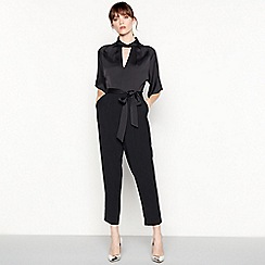 Debut - Black crepe satin high neck jumpsuit