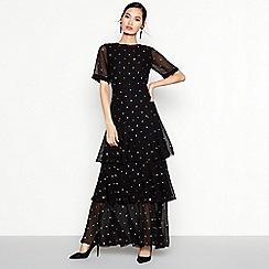 Debut - Black Embellished Tiered Maxi Dress