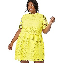 Debut - Yellow lace 'Mina' short sleeve plus size shift dress