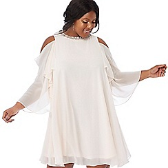 Debut - Rose embellished chiffon 'Cadence' round neck cold shoulder plus size mini dress