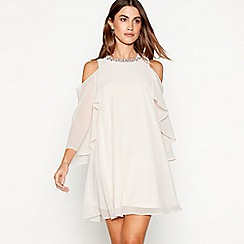 Debut - Rose embellished chiffon 'Cadence' round neck cold shoulder mini dress
