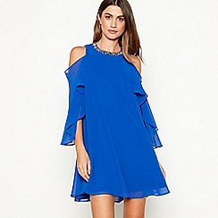Debut - Bright blue embellished chiffon 'Cadence' round neck cold shoulder plus size mini dress