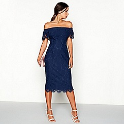 Debut - Navy lace 'Briana' Bardot neck midi dress