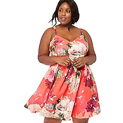 Debut - Bright orange floral print scuba V-neck plus size mini skater dress