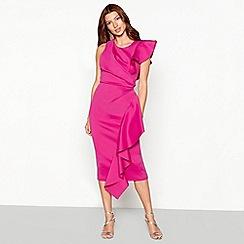 Debut - Bright pink sculptured frill dress