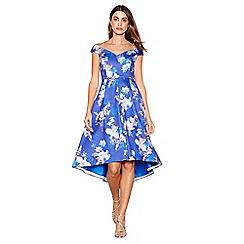 Debut - Bright blue floral print scuba V-neck short sleeve high low prom dress