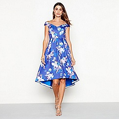 Debut - Bright blue floral print scuba V-neck short sleeve high low prom dress
