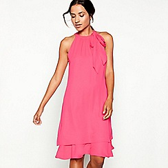 Debut - Bright pink tie neck 'Elsa' chiffon knee length swing dress