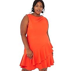 Debut - Red frilled hem 'Fei' knee length plus size dress