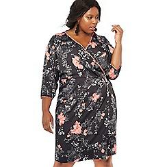 Debut - Black floral print satin plus size wrap dress