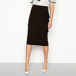 Debut - Black frill knee length pencil skirt