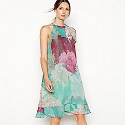 Debut - Green floral print chiffon 'Elsa' knee length swing dress
