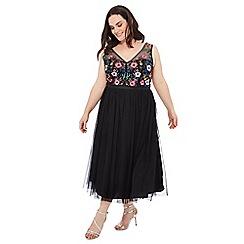Debut - Black floral embroidered V-neck full length plus size dress