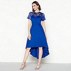 Debut - Bright blue lace scuba 'Siena' high low prom dress