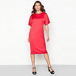 Debut - Bright red satin short sleeve shift dress
