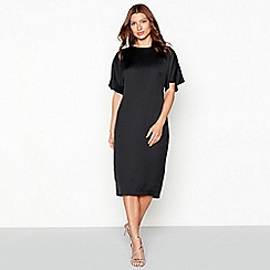 Debut - Black 'Winnie' short sleeve satin shift dress