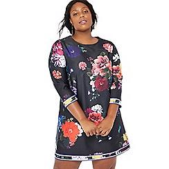 Debut - Multi-coloured floral print 'Tonya' knee length plus size dress