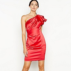 Debut - Red ruffle satin 'Sia' Bardot neck mini dress