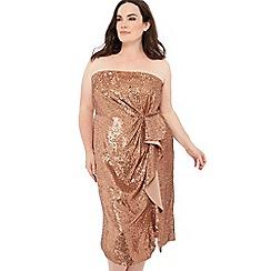 Debut - Bronze sequin knee length plus size bandeau dress