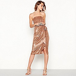 Debut - Bronze sequin knee length bandeau dress
