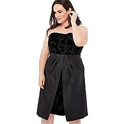 Debut - Black velvet embellished 'Bianca' bandeau knee length plus size dress