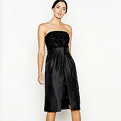 Debut - Black velvet embellished 'Bianca' bandeau knee length dress