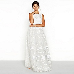 Chi Chi London - White embroidered lace 'Maire' round neck full length bridal dress